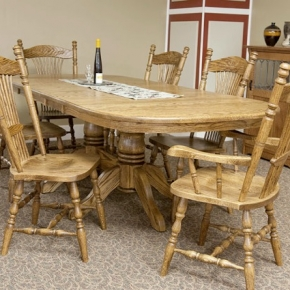 "Double Pedestal country table - 42""x60""+3-12"" leaves (Red Oak)"